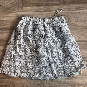 J Crew Silver Eyelet Lace Skirt Fully Lined